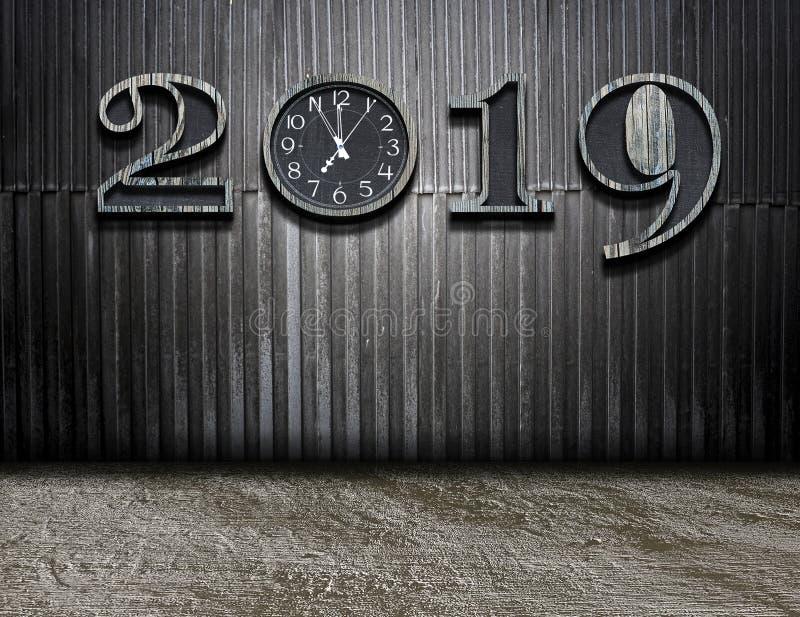 与新的时间的新年好2019年在生活中 图库摄影