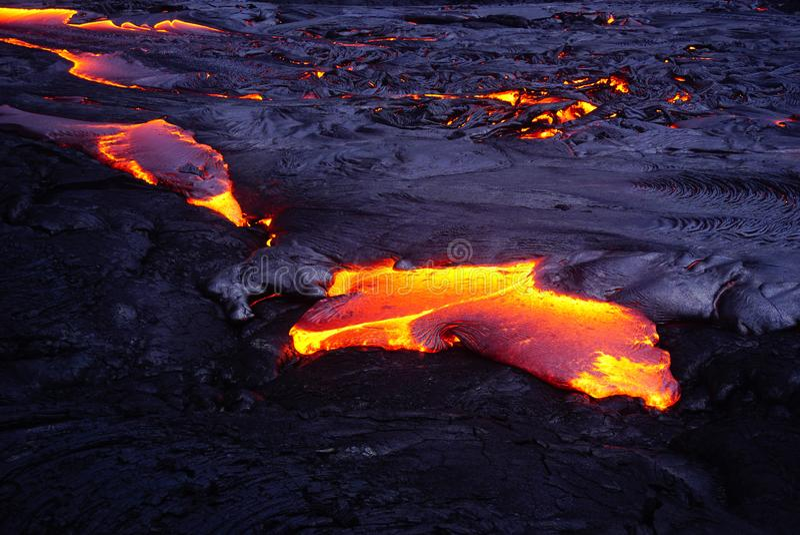 与新的熔岩的熔岩荒野在夏威夷 免版税库存照片