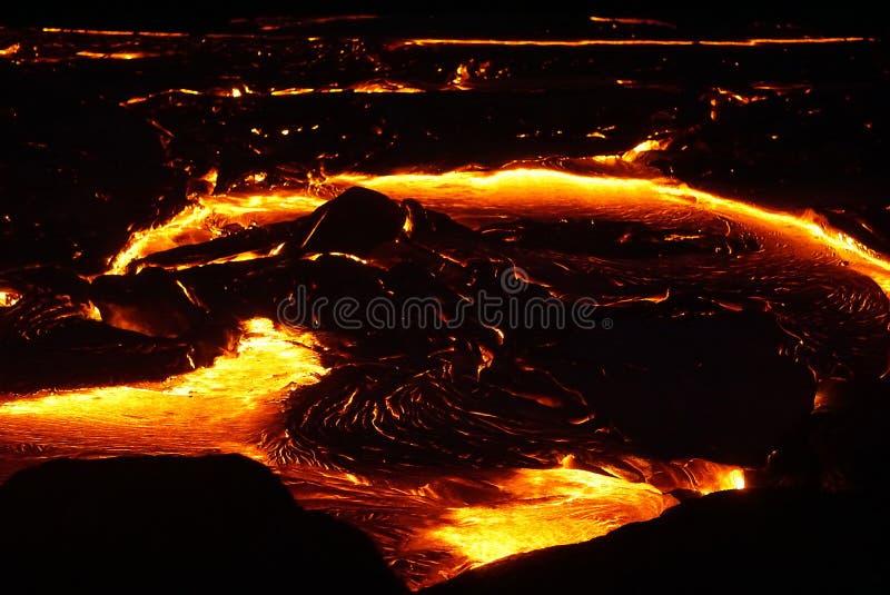 与新的熔岩的熔岩荒野在夏威夷 库存照片