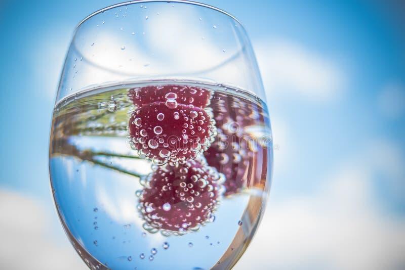 与新鲜水果和玻璃餐具的水 鸡尾酒用在蓝天背景的成熟甜红色樱桃 柠檬水,夏天 库存照片