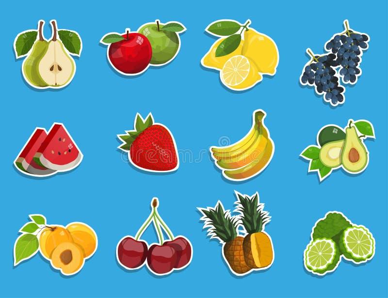 与新鲜水果集合的贴纸 健康的食物 可口自然果子和莓果不同  不同形式热带 皇族释放例证