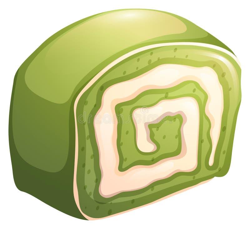 与新鲜的奶油的绿色cakeroll 向量例证