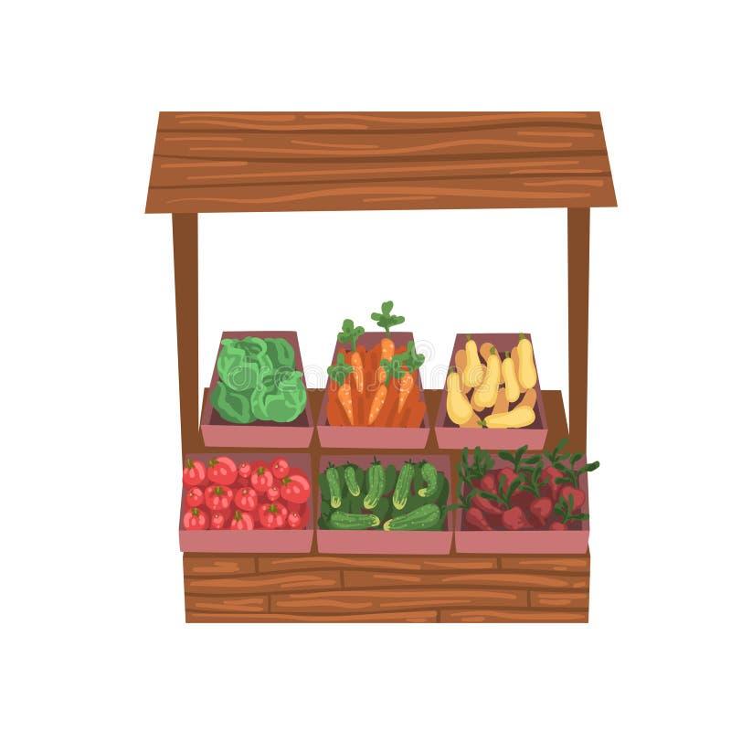 与新鲜的成熟菜的市场木柜台,街道商店陈列室传染媒介例证 库存例证
