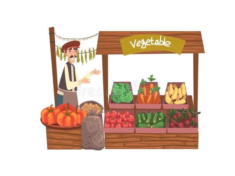 与新鲜的自然有机产品的菜地方农夫市场在柜台,街道商店,男性卖主卖新鲜 向量例证
