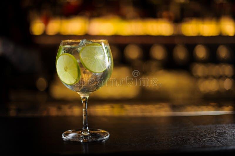 与新鲜的酸和甜鸡尾酒的大和典雅的鸡尾酒杯 免版税库存图片