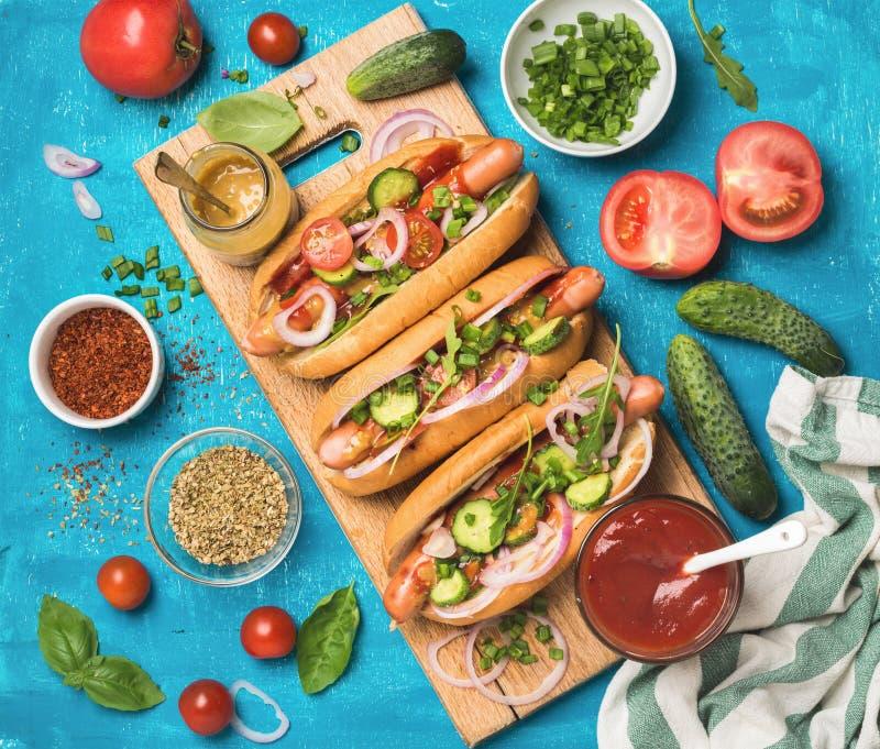 与新鲜蔬菜、香料、番茄酱和芥末的自创热狗 图库摄影