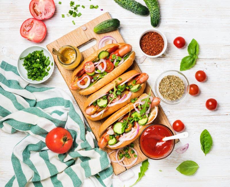 与新鲜蔬菜、香料、番茄酱和芥末的自创热狗 免版税图库摄影