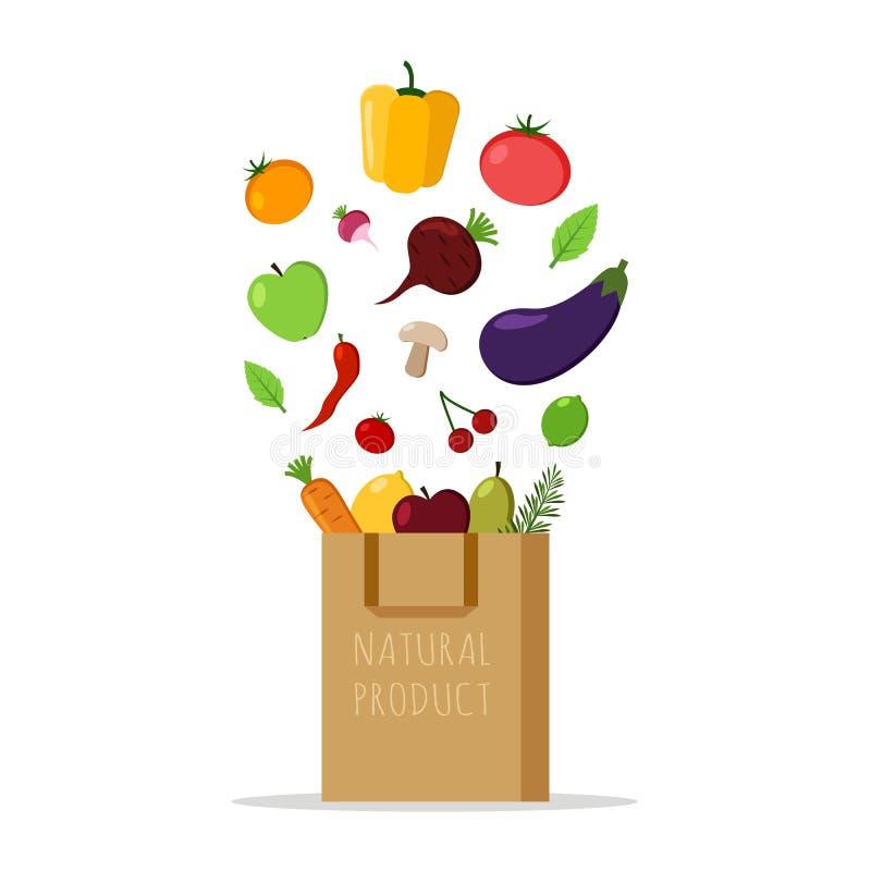 与新鲜蔬菜和果子的纸袋在白色背景 自然产品 平的设计例证 皇族释放例证