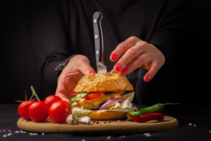 与新鲜蔬菜的自创汉堡包 库存图片