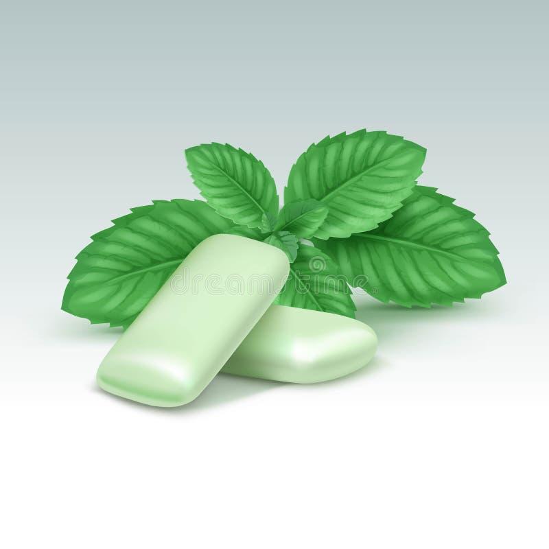 与新鲜薄荷叶子的传染媒介口香糖在白色 库存例证