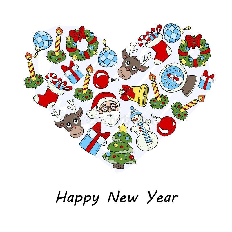 与新年快乐的标志的风格化心脏 向量例证