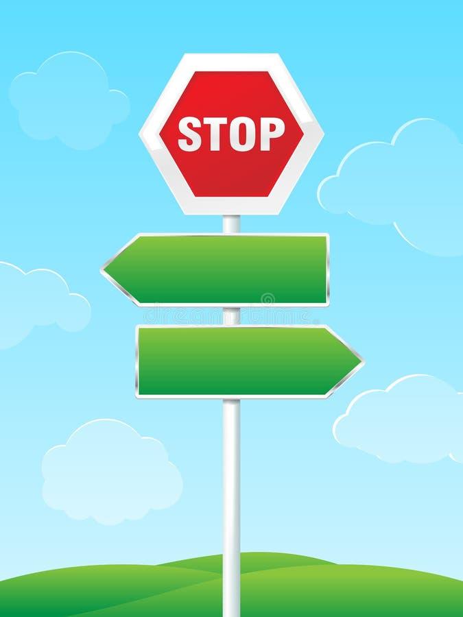 与方向箭头的路标 库存例证