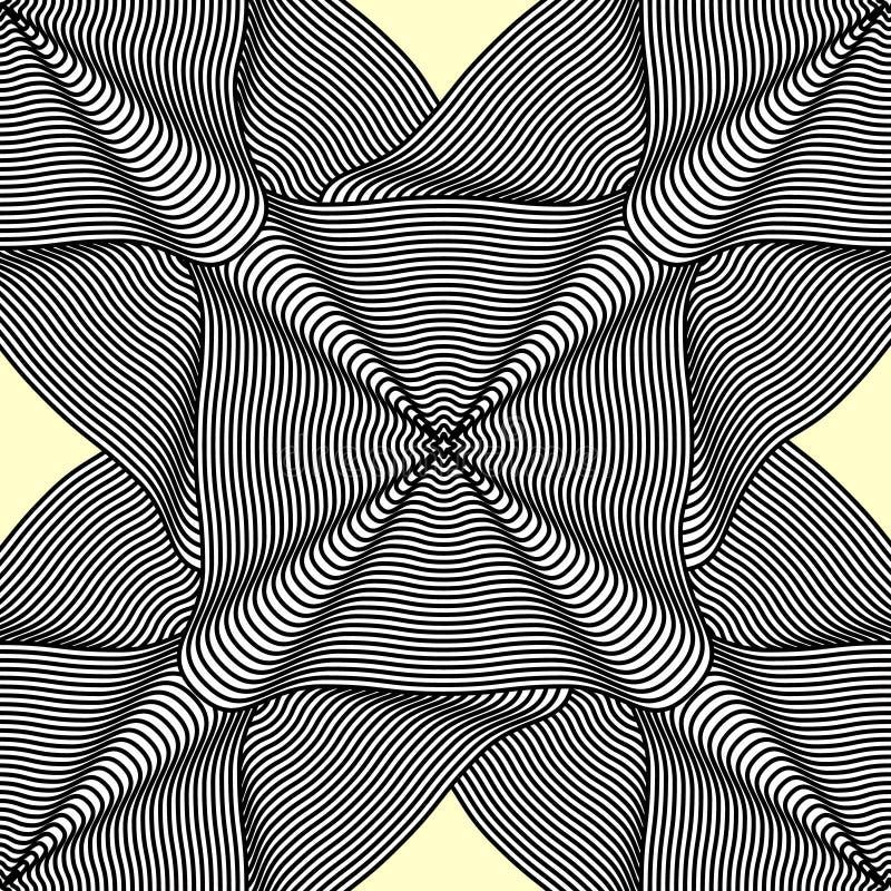 与方形的条纹褶的无缝的抽象背景挥动 向量例证