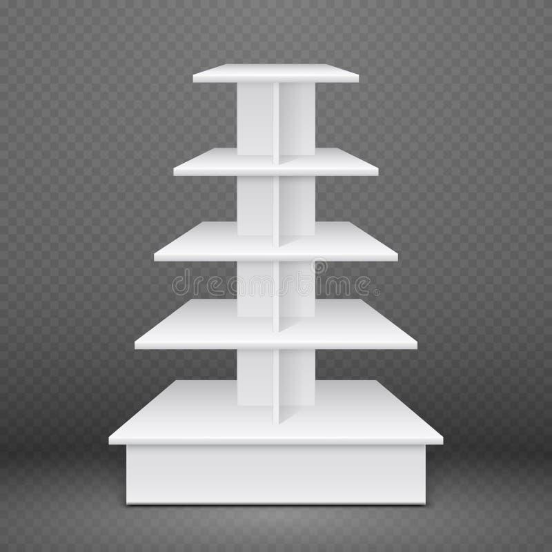 与方形的架子的白色陈列立场,零售广告产品显示 皇族释放例证