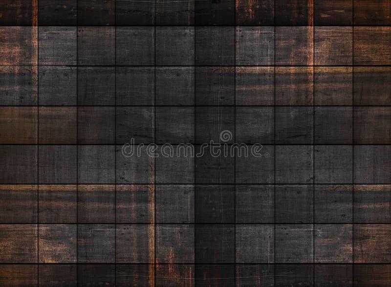 与方形的样式的老黑暗的木纹理 免版税库存照片