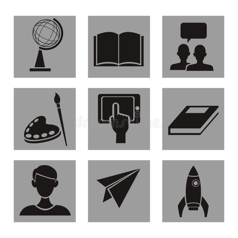 与方形的框架黑白照片的白色背景与剪影元素院知识 库存例证