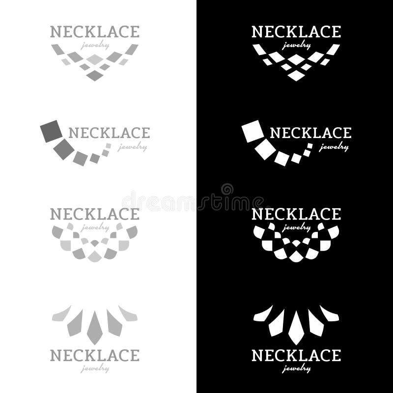 与方形的金刚石形状黑和灰色口气传染媒介设计的项链商标 向量例证
