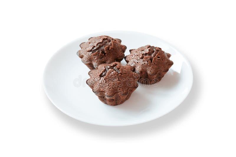 与方旦糖装填的巧克力蛋糕 图库摄影