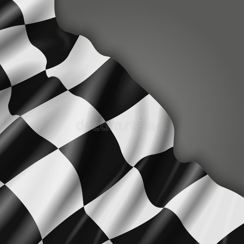 与方格的赛跑的旗子的抽象传染媒介背景 向量例证