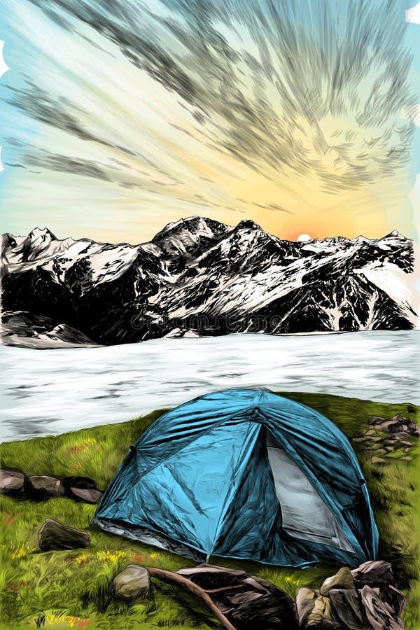 与旅游帐篷的图象的风景在前景的在一个冻湖的背景的在的草和山 库存例证