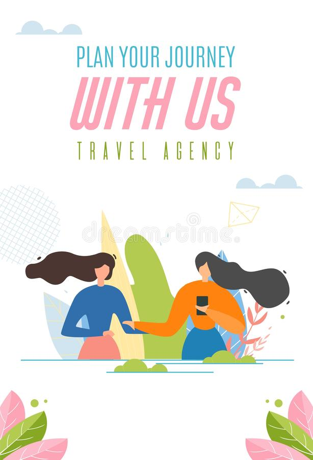 与旅行公司广告横幅的容易的旅途计划 向量例证
