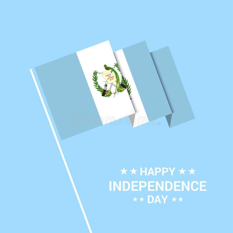 与旗子传染媒介的危地马拉独立日印刷设计 库存例证