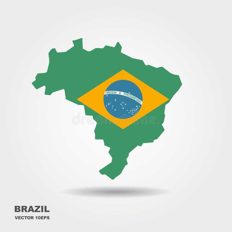 与旗子传染媒介的巴西地图 皇族释放例证
