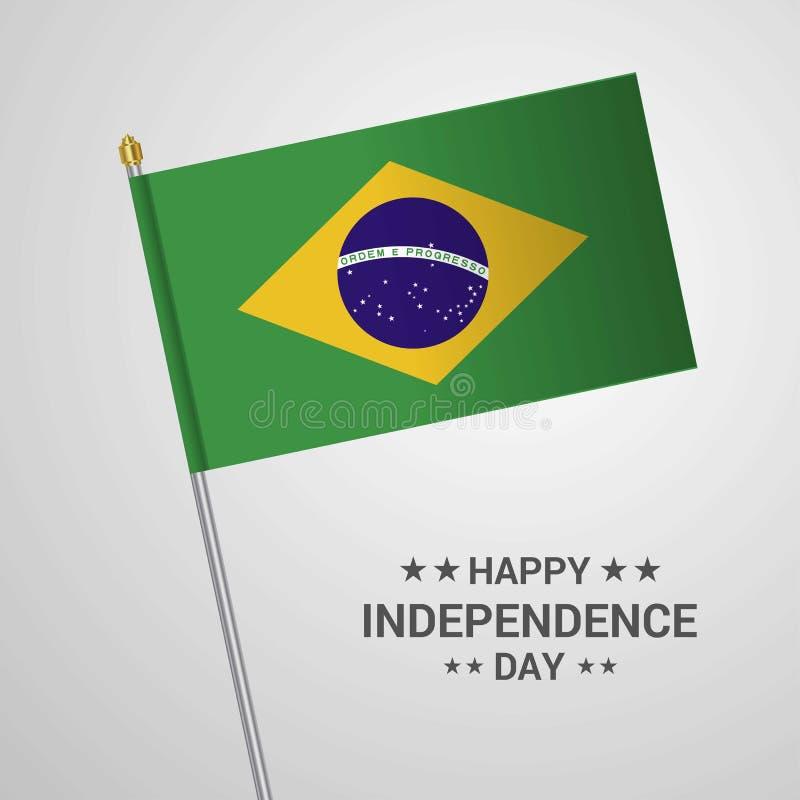 与旗子传染媒介的巴西独立日印刷设计 库存例证