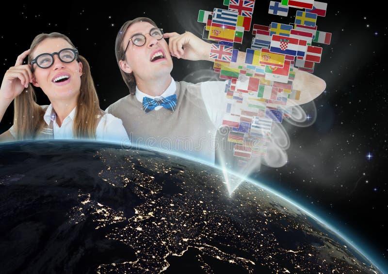 与旗子出去的盘区地球,书呆子夫妇 向量例证