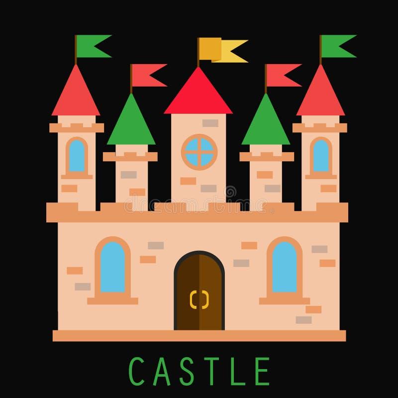 与旗子和塔的老城堡 皇族释放例证