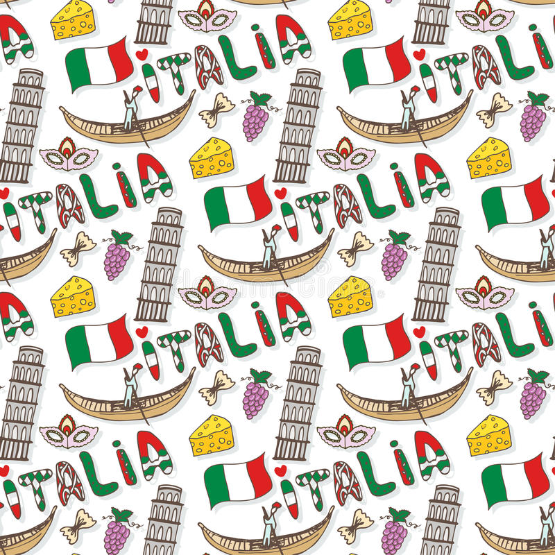 与旗子和文化元素的意大利无缝的样式 传染媒介乱画旅行背景 手写在意大利la的意大利字法 向量例证
