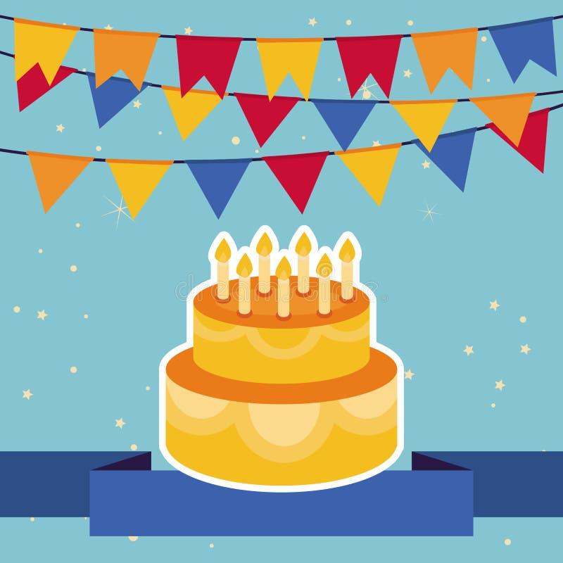与旗子和生日蛋糕的传染媒介背景 皇族释放例证