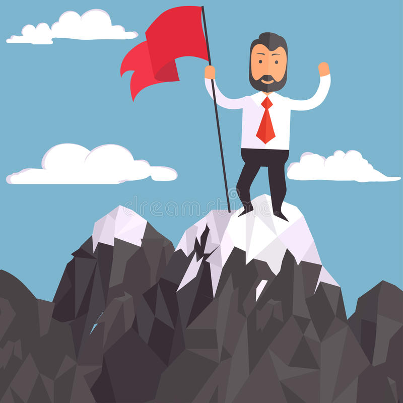 与旗子在山峰,成功的商人 向量例证