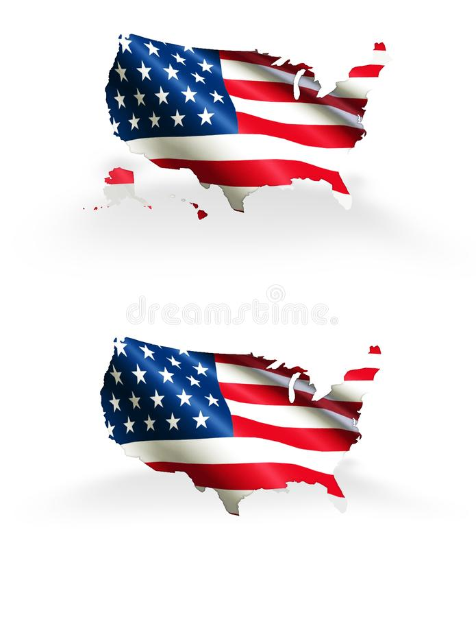 与旗子概述美国夏威夷和阿拉斯加的美国地图包括 向量例证