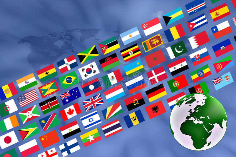 与旗子横幅的地球 库存例证