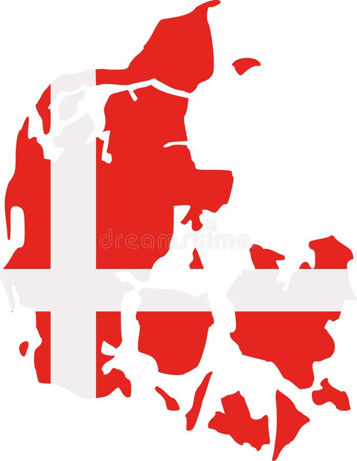 与旗子的丹麦地图 库存例证