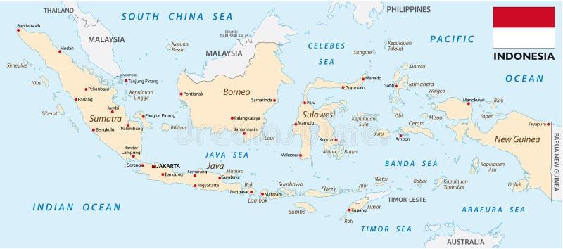 与旗子的印度尼西亚地图 库存例证
