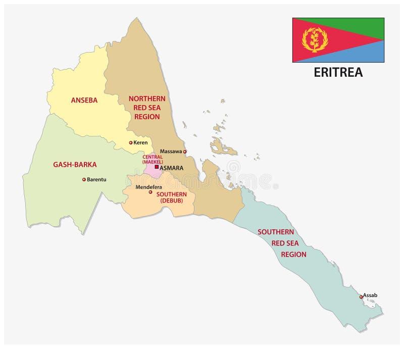 与旗子的厄立特里亚行政和政治传染媒介地图图片