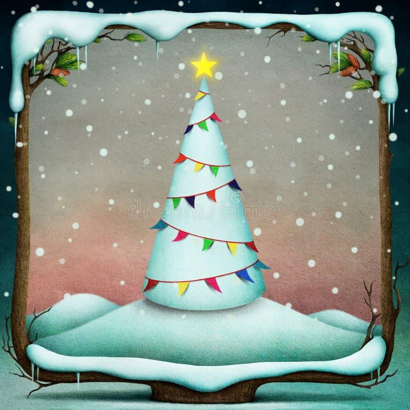 与旗子的圣诞树。 向量例证
