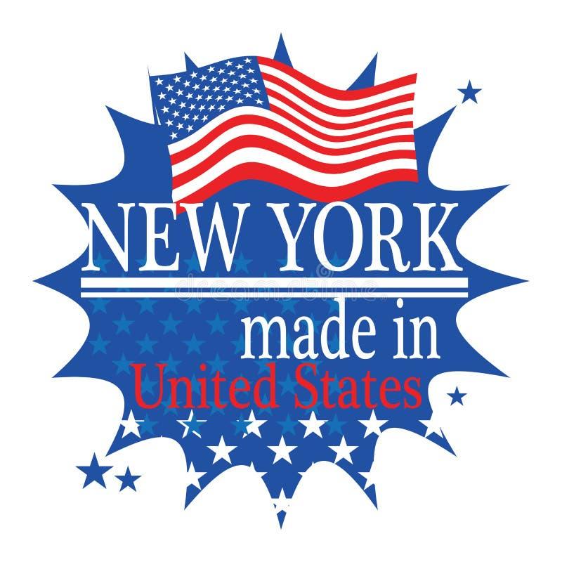 与旗子的在纽约做的标签和文本 向量例证