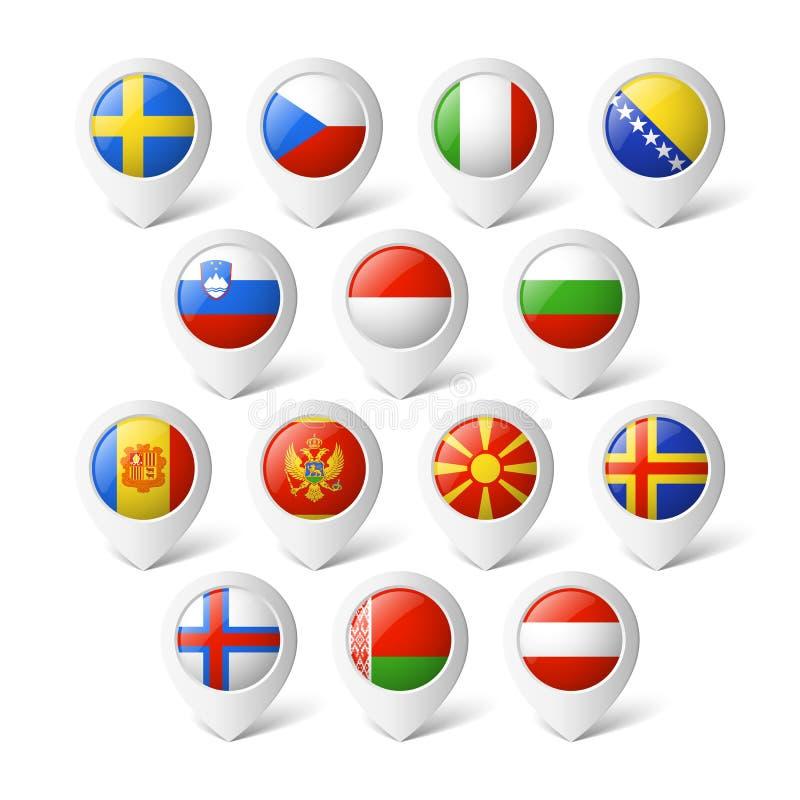 与旗子的地图尖。欧洲。 库存例证