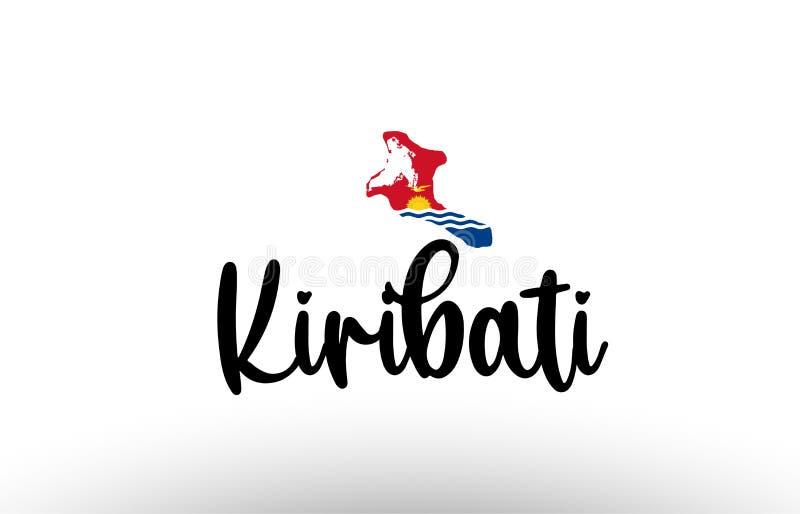与旗子的基里巴斯国家大文本在地图概念商标里面 皇族释放例证