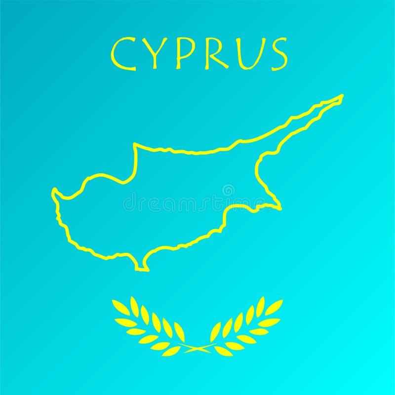 与旗子的塞浦路斯地图 向量例证EPS10 皇族释放例证