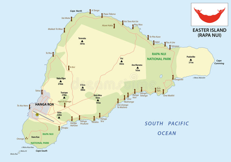 与旗子的复活节岛地图 向量例证