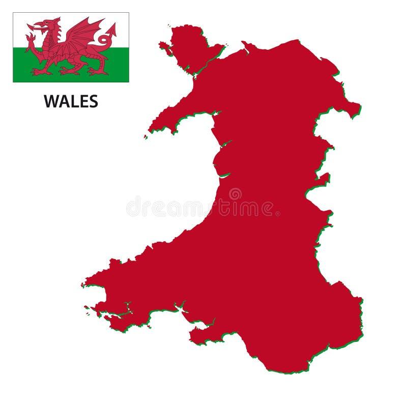 与旗子的威尔士地图 库存例证