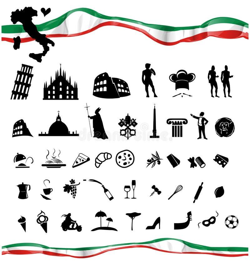 与旗子的意大利符号集 向量例证