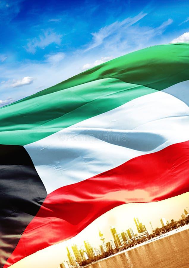与旗子的科威特海报 向量例证