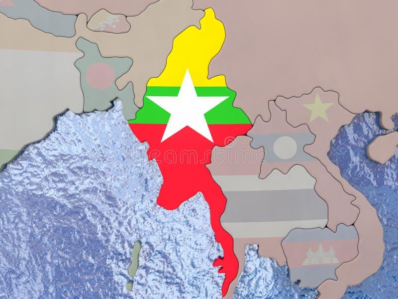 与旗子的缅甸在地球 库存例证