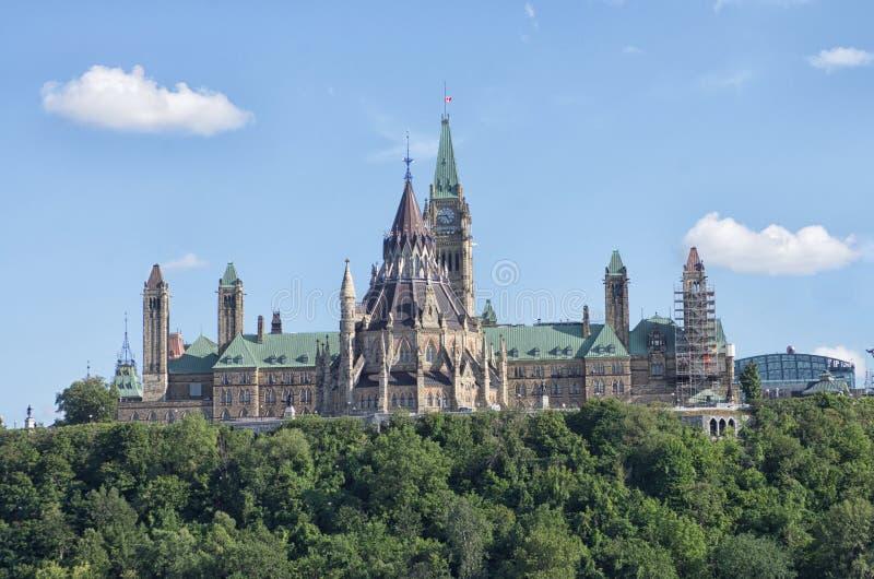 与旗子的议会大厦飞行半帆柱 库存照片