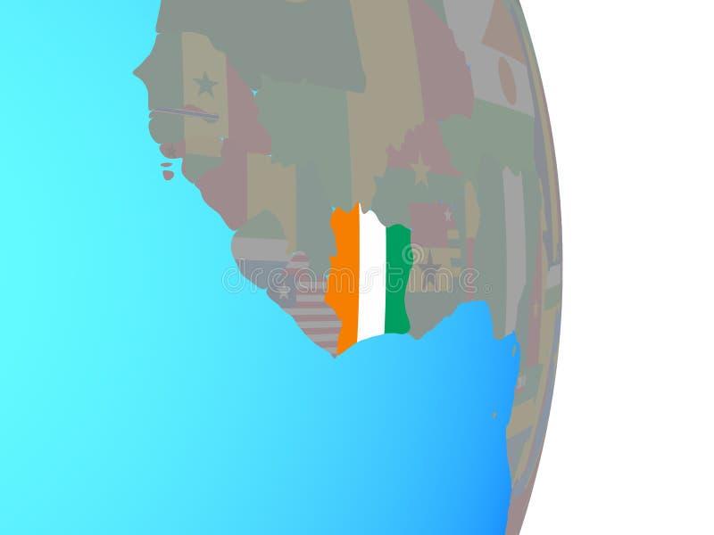 与旗子的象牙海岸在地球 向量例证